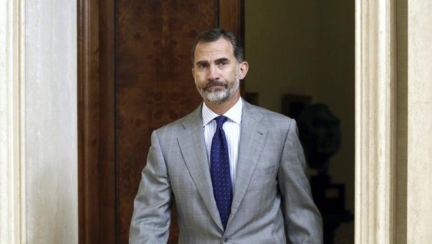 Don Felipe, durante una audiencia en el Palacio de la Zarzuela