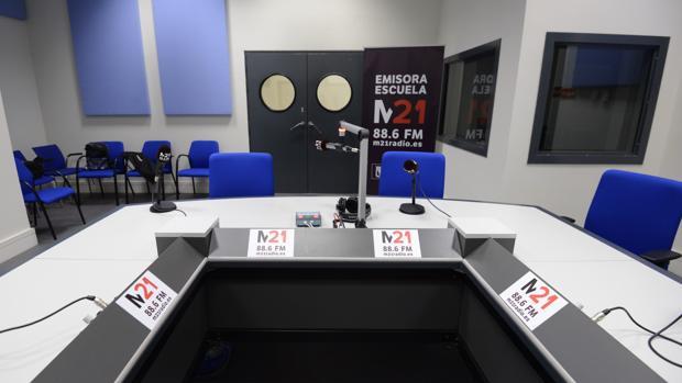 El estudio de la nueva radio municipal en la sede del Ayuntamiento en Cibeles