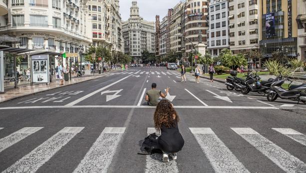 Imagen tomada este jueves en la Plaza del Ayuntamiento de Valencia
