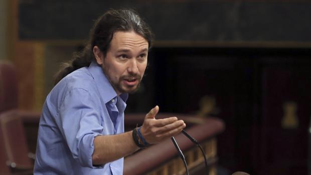 El secretario general de Podemos, Pablo Iglesias, el pasado jueves en el Congreso