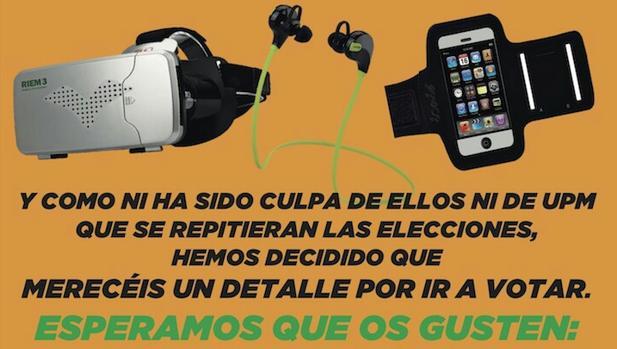 Imagen del cartel donde se anuncian los regalos por acudir a las urnas