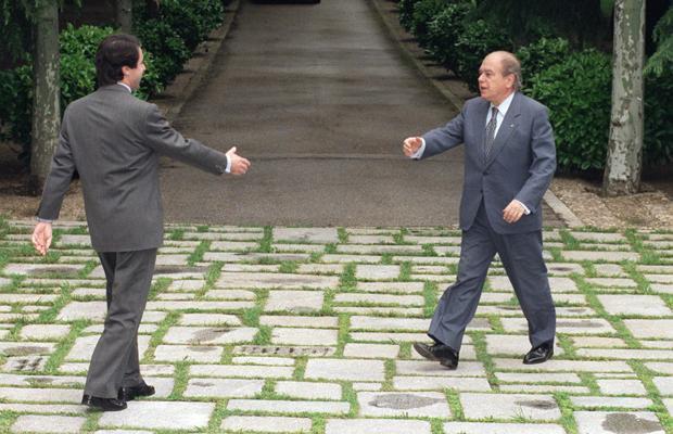 Aznar recibe a Pujol en La Moncloa, en 1996