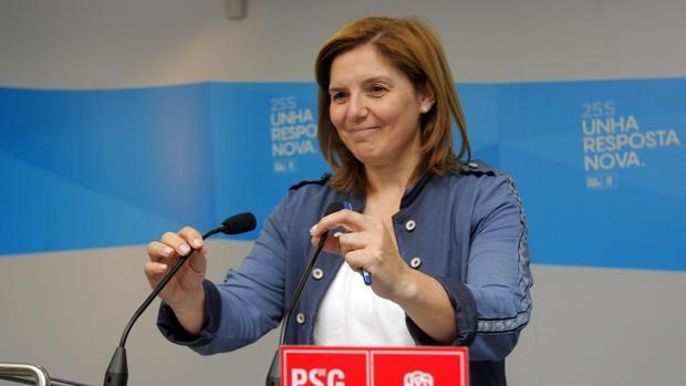 La presidenta de la gestora del PSdeG, Pilar Cancela, durante una comparecencia ante los medios