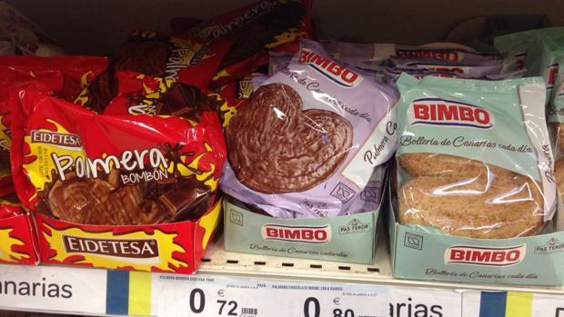 Dulces del mismo fabricante y diferente precio en favor de la marca canaria