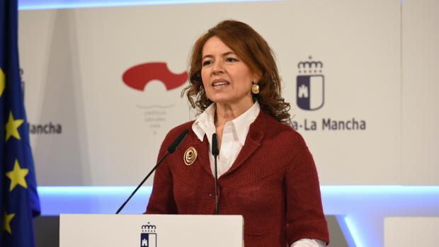 La consejera de Bienestar Social, Aurelia Sánchez, durante su comparecencia tras el Consejo de Gobierno