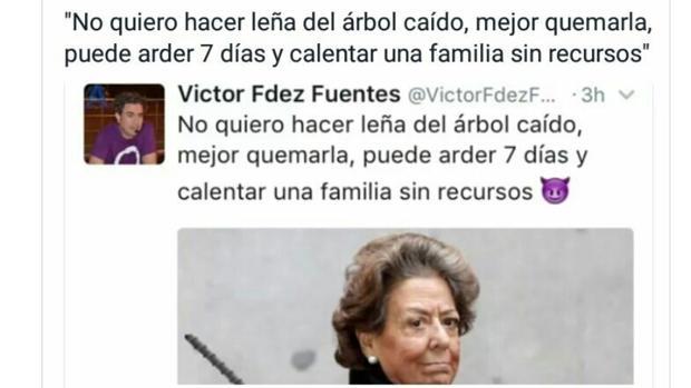 El comentario difundido y ya retirado por el representante de Podemos