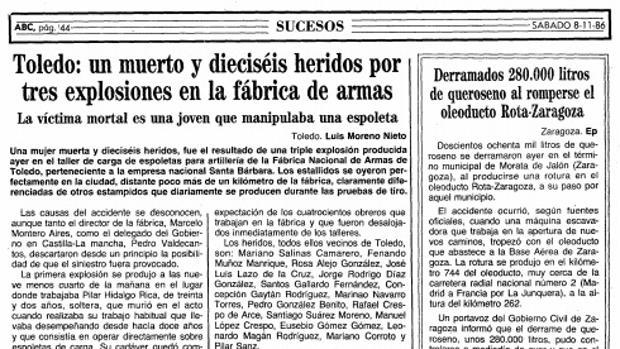 En la crónica publicada en ABC, el periodista ya fallecido Luis Moreno Nieto relata: «Los estallidos se oyeron perfectamente en la ciudad». Aunque el titular dice que hubo 16 heridos, en realidad fueron más de 30. 16 fueron las personas hospitalizadas en el Virgen de la Salud