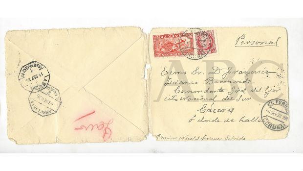 Carta del padre de Franco a su hijo en plena Guerra Civil, documento que ABC desvela