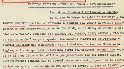 Extracto de uno de los documentos subrayado en rojo por Franco