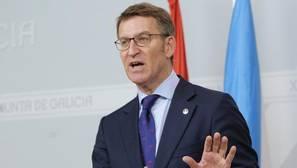 El presidente de la Xunta,Alberto Núñéz Feijóo, en rueda de prensa