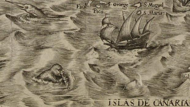 En 1562, el cartógrafo español Diego Gutiérrez y el grabador holandés Hieronymus Cock veían así Canarias