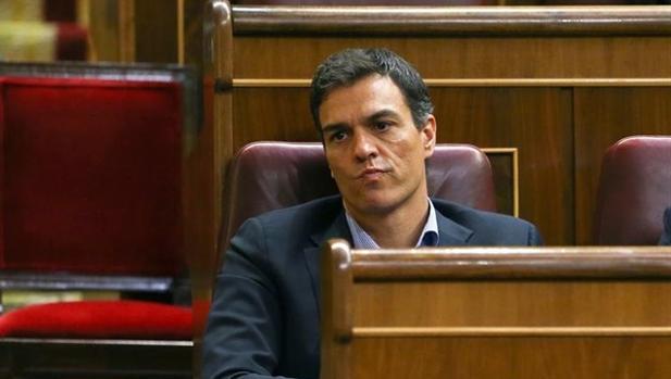 Pedro Sánchez, en su escaño del Congreso de los Diputados