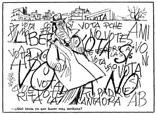 La viñeta que publicó Mingote el día de la votación: «¿Qué tenía yo que hacer esta mañana?»