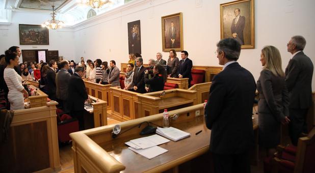 La Corporación municipal, este viernes, en el pleno en el que se han aprobado de manera inicial el presupuesto de Toledo para 2017