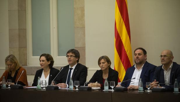 El Auditorio del Parlament ayer, que acogió una cumbre para planificar los pasos a dar hacia la convocatoria de un referéndum