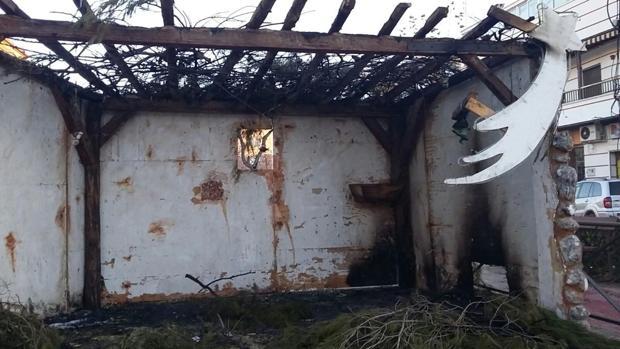 Imagen del belén de Motilla del Palancar incendiado