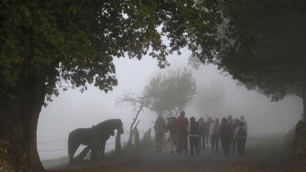 Un grupo de peregrinos a su paso por la localidad lucense de Barbadelo