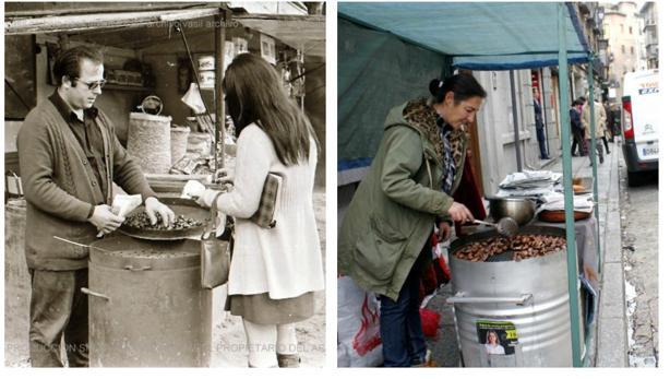 Antonio Dueñas, en la Vega 1969/ Inmaculada Izquierdo lleva más de 32 años vendiendo castañas asadas en Zocodover