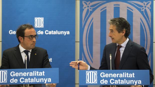 Josep Rull e Íñigo de la Serna, esta mañana en Barcelona