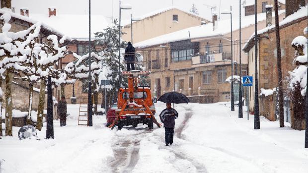 Nieve en una de las calles de Soria