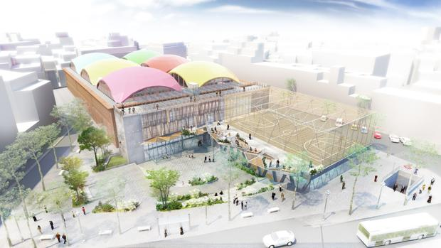 Un gimnasio con piscina canchas de baloncesto y un roc dromo para la nueva plaza de la cebada - Gimnasio con piscina madrid ...