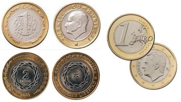 Arriba a la izquierda, imagen de una lira turca. Abajo a la izquierda, moneda de dos pesos argentinos