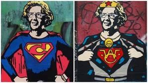 Un grafitero convierte a Carmena en Wonder Woman