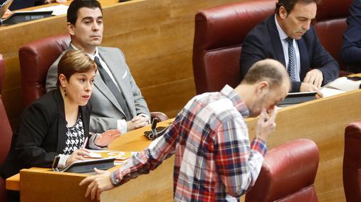 La diputada de Ciudadanos Mercedes Ventura, en su escaño de las Cortes
