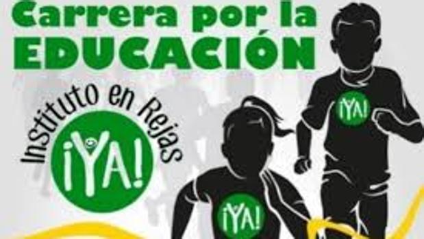 Cartel de una carrera popular organizada como reivindicación del instituto en el barrio de Reja