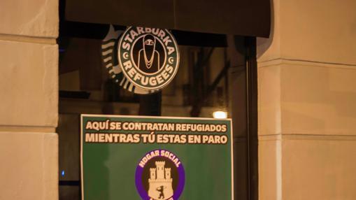 Cartel situado en uno de los establecimientos de Starbucks