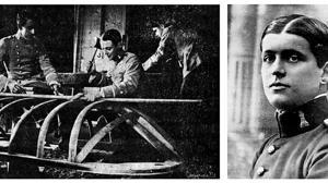 El teniente Larrea, en el centro de la foto de la izquierda, construyendo la barca en la que luego perdió la vida, (Fotografía, «Flores y Abejas»). A la derecha, el cadte Genaro Olivié, quien salvó la vida al bajarse momentos antes de la embarcación