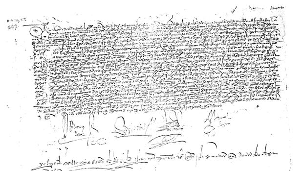 Carta de los Reyes Católicos que insta a Pedro de Vera a que no se entrometa en los asuntos religiosos de la isla