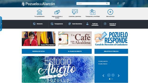 La página de inicio de la nueva web municipal de Pozuelo