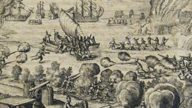 Grabado de De Bry sobre el ataque holandés a Gran Canaria en 1599