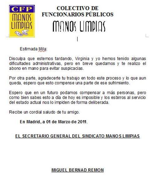 Documento entregado a la Udef en el que Bernad afirma que pagarán en metálico a la portavoz de los afectados de Afinsa