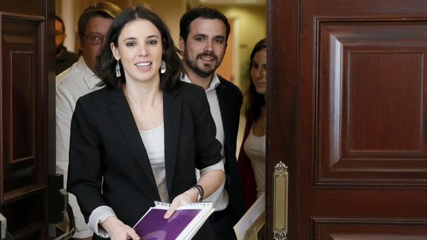 La portavoz de Unidos Podemos, Irene Montero, a su llegada a la Junta de Portavoces celebrada este martes en el Congreso de los Diputados