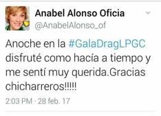 Anabel Alonso, la presentadora carnavalera que borra un tuit donde confunde Gran Canaria con Tenerife