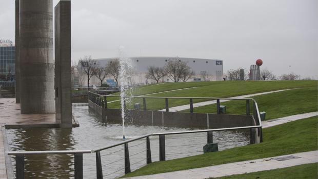Una de las fuentes del parque Juan Carlos I, en el distrito de Barajas