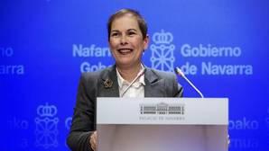 La presidenta del Gobierno de Navarra, Uxue Barkos, hoy durante su comparecencia en Sala de prensa del Palacio de Navarra, para valorar el anuncio de desarme de ETA