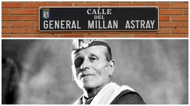Placa de la calle de Millán Astray en Madrid; abajo, el general en 1930
