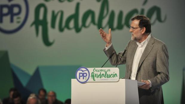 Mariano Rajoy, durante el Congreso del PP andaluz