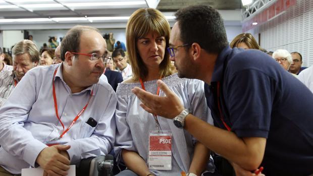 Miquel Iceta, Idoia Mendia y Antonio Hernando, en una imagen de archivo