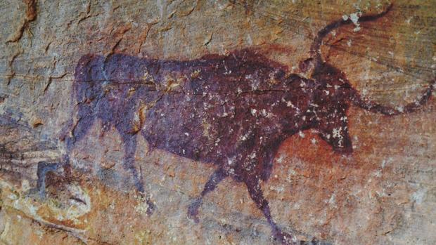 Una de las pinturas rupestres de Villar del Humo, en Cuenca