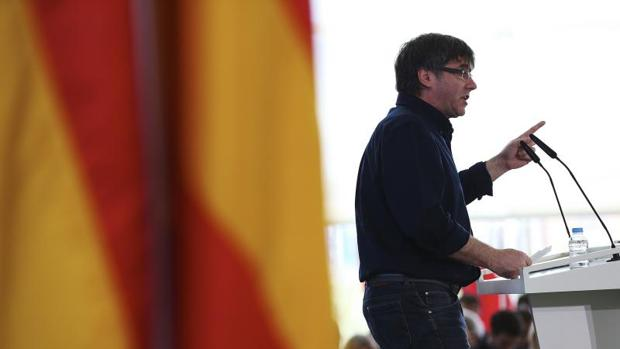 Puigdemont, durante el acto de hoy