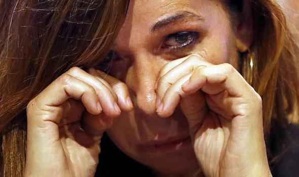 Alicia Sánchez-Camacho, emocionada, tras su discurso de despedida en el XIV congreso del PP catalán, hoy