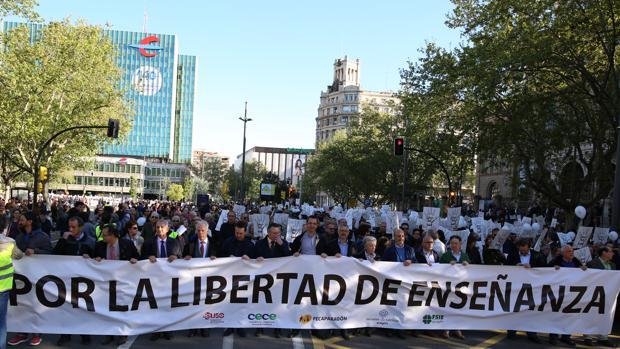 Cabecera de la manifestación que recorrió este martes las calles de Zaragoza