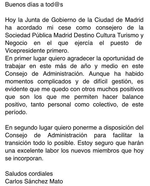 Carta enviada por Mato al resto de consejeros de Madrid Destino
