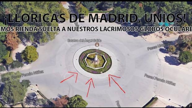 Montaje de la quedada prevista para este viernes en el parque de El Retiro