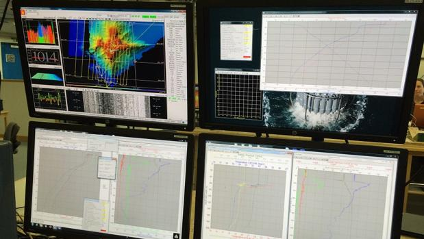 Análisis en pantallas de la cumbre del monte submarino Tropic en el buque RSS James Cook