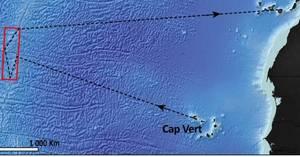 Ruta trazada por Francia en sus sondeos de minería submarina y que concluyen este mes de abril